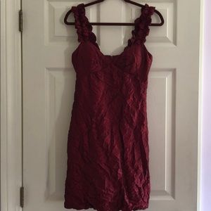 Elegant, deep red/garnet, bubble hem dressy dress